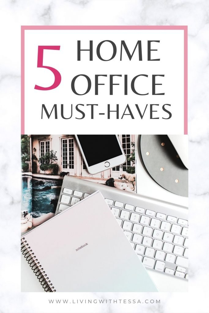 image with text 5 home office must haves with image of a keyboard and a notebook