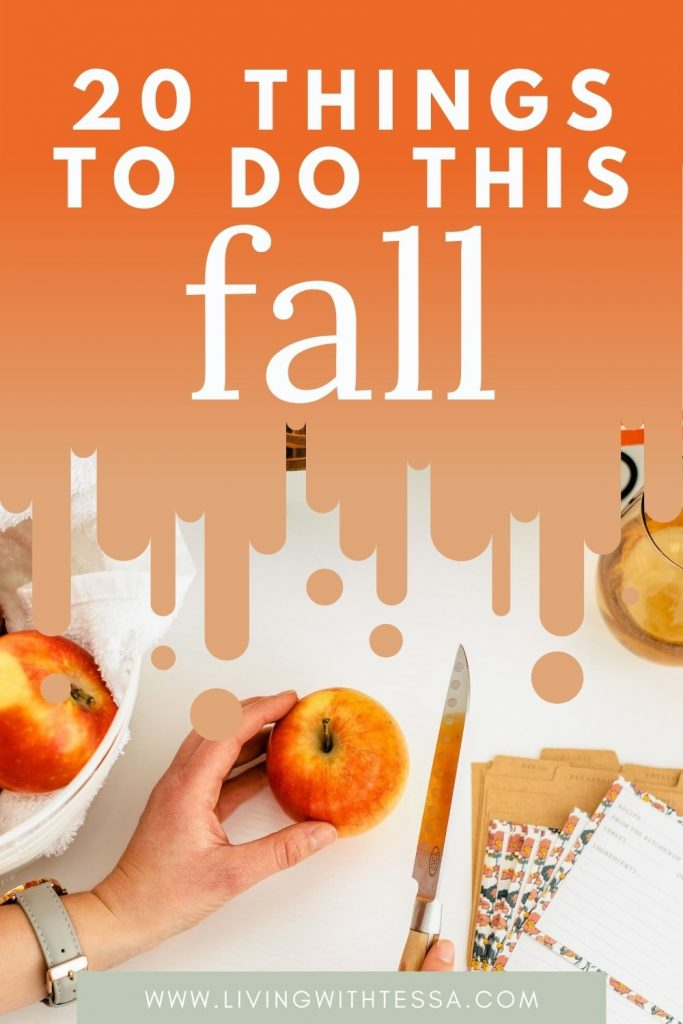 Pin image for article: things to do in fall. picture of a hand holding an apple and another hand with a knife.