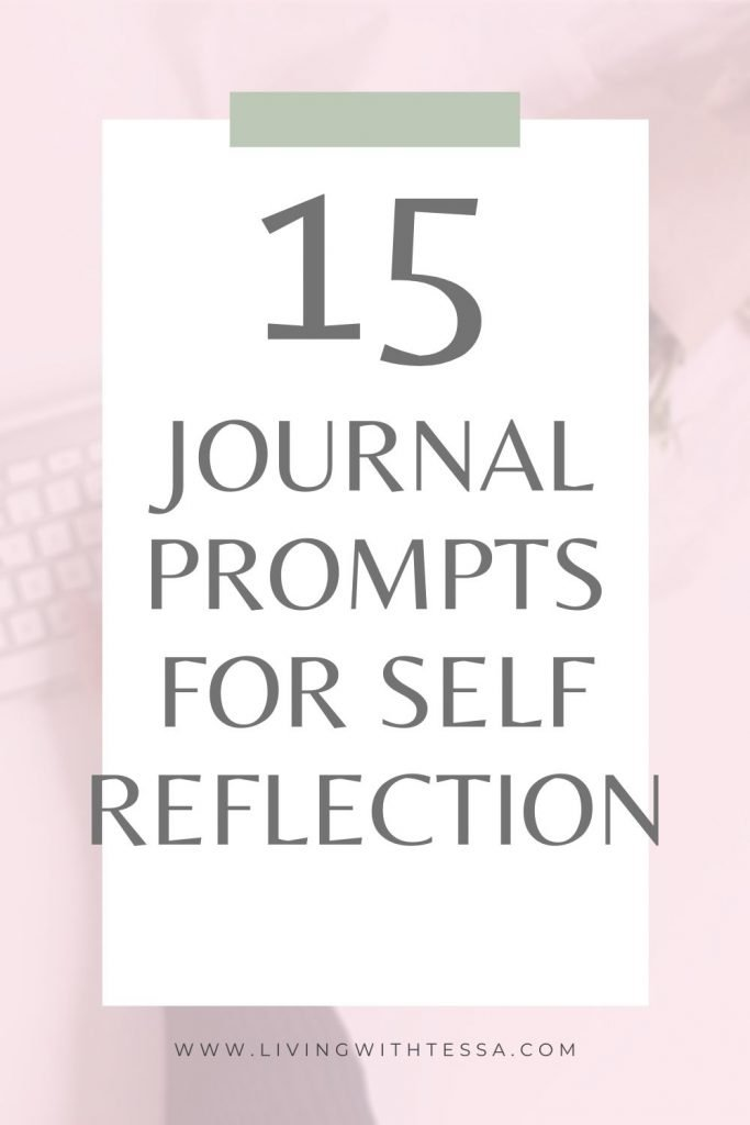 Image with text: 15 journal prompts for self-reflection