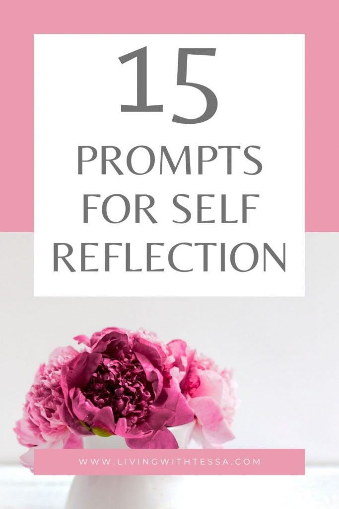 image with text '15 journal prompts for self-reflection' and an image of pink peonies
