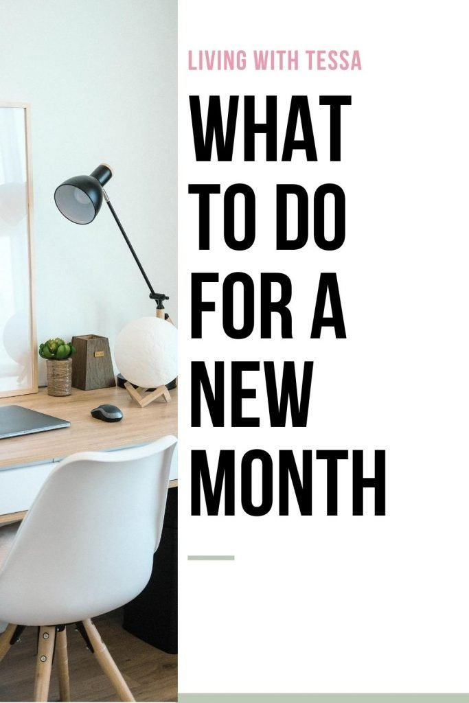 pin image with text what to do for a new month